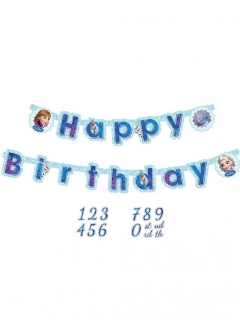 Disney Frozen Happy Birthday Girlande Party-Deko blau 1,8m