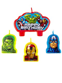 Geburtstags Kerzen Happy Birthday Lizenzartikel Avengers 4 Stück bunt