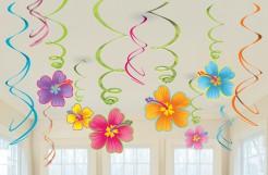Blumen-Aufhänger Hawaiiparty-Deko 12 Stück bunt 13x18cm