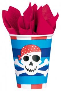 Piraten Party-Becher 8 Stück blau-rot-weiss 266ml
