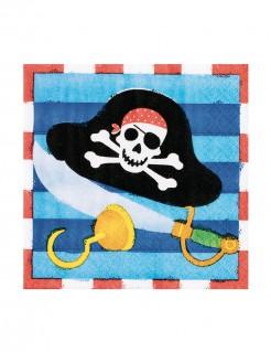 Piraten Party Servietten Party-Zubehör 16 Stück bunt 12,5x12,5cm