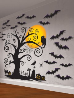 Grusel-Scherenschnitt Wand-Deko Set Halloween-Kinderparty schwarz-orange 85x165cm
