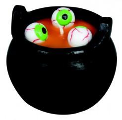 Augenkessel Deko-Kerze Halloween-Tischdeko bunt
