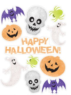 Halloween Sticker Party-Fensterdeko-Set 11-teilig bunt 45x30cm