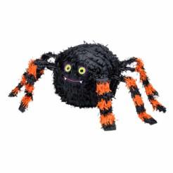 Süsse Pinata Spinne Halloween Party-Spiel schwarz-orange 27x48cm