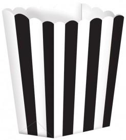 Retro Popcorn Süssigkeiten-Box Partydeko-Set weiss-schwarz 5 Stück