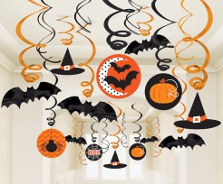 Hänge-Spiralen Hexen und Fledermäuse Halloween Partydeko-Set 30-teilig bunt 13-31cm