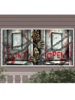 Blutiges Zombie Banner Halloween Mega-Deko-Folie bunt 160x85cm