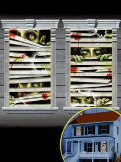 Zombie-Gesichter Halloween Fenster-Deko Set 2-teilig bunt 165x85cm
