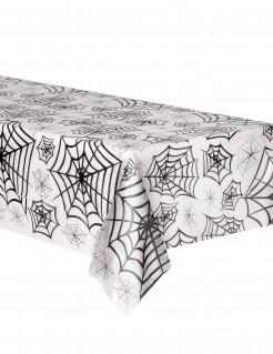 Spinnweben Halloween-Tischdecke weiss-schwarz 135x275cm