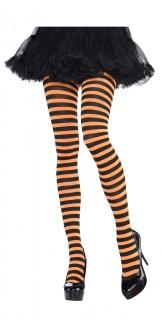 Gestreifte Ringel-Strumpfhose schwarz-orange