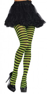 Geringelte Strumpfhose Kostüm-Accessoire grün-schwarz