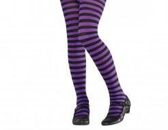 Geringelte Kinder-Strumpfhose Kostüm-Accessoire lila-schwarz