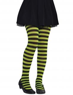 Geringelte Kinder-Strumpfhose Kostüm-Accessoire grün-schwarz