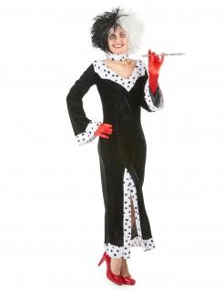 Diva-Kostüm Cruella De Vil schwarz-weiß