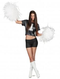 Cheerleader-T-Shirt für Damen schwarz