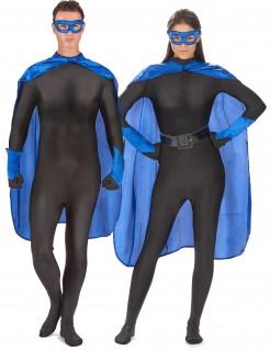 Superheld-Kostümset für Erwachsene 4-teilig blau