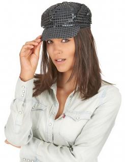 Disco-Kappe mit schwarzen Pailletten für Erwachsene