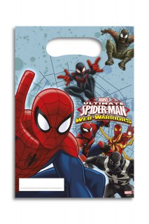 Spiderman Party-Tüten Party-Deko 6 Stück bunt 17x26cm