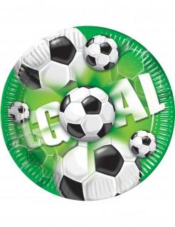Fussball-Pappteller Goal 8 Stück grün-schwarz-weiss