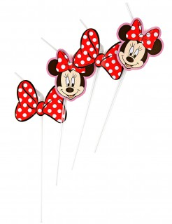 Minnie Mouse Trinkhalme Party-Deko 6 Stück bunt 24cm