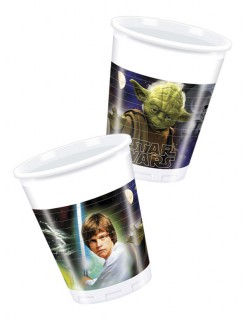 Star Wars Plastik-Becher Party-Deko 8 Stück bunt 200ml