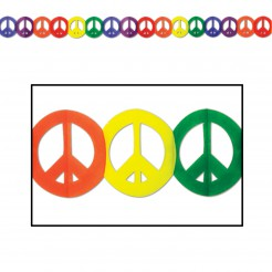 Hippie Girlande Party-Deko Peace-Zeichen bunt 365x15cm