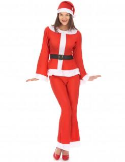 Weihnachtsmann-Damenkostüm rot-weiss-schwarz