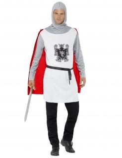 Ritter-Herrenkostüm Mittelalter-Kostüm weiss-grau-rot