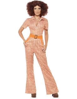 70er Jahre Disco Damenkostüm Jumpsuit orange