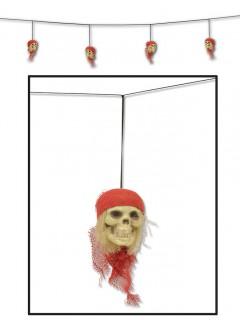 Schaurige Totenschädel-Girlande Halloween Party-Deko bunt 305cm