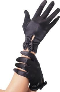 Kurze Damenhandschuhe mit Schleifen schwarz