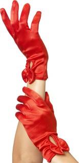 Kurze Handschuhe mit Knoten Damen rot