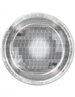 Discokugel Pappteller Party-Deko 8 Stück silber 23cm