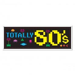 80er Retro Schild Party-Deko Videospiel schwarz-bunt 152x53cm