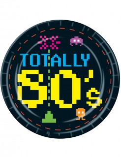 80er Retro Pappteller Party-Deko Videospiel 8 Stück schwarz-bunt 23cm