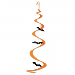 Fledermaus-Hängespirale Halloween-Deko orange-schwarz 76cm