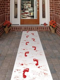 Blutige Füsse Läufer Halloween Party-Deko weiss-rot 61x304cm