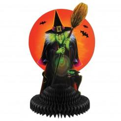 Böse Hexe Halloween-Partydeko Tischaufsteller bunt 30x19cm