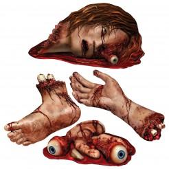 Blutige Leichenteile Cutouts Halloween Party-Deko Set rot-beige 4 Stück