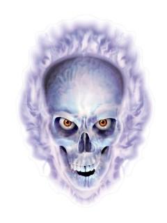 Gruseliger Totenkopf Halloween Sticker weiss-lila 30x43cm