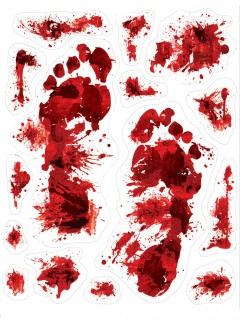 Blutige Fußspuren blutige Halloween-Deko 15 Stück rot-weiss 30x43cm