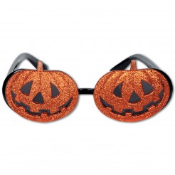 Halloween-Brille Glitzer-Kürbis orange-schwarz