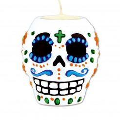 Tag der Toten Sugar Skull Teelichthalter bunt