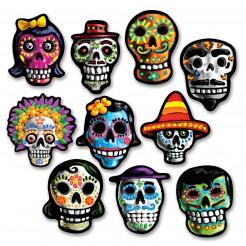 Tag der Toten Pappschädel Halloween Party-Deko 10 Stück bunt 4cm