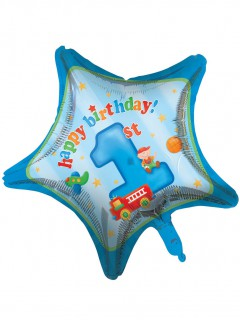 Geburtstagsballon 1 Jahr Aluminiumballon in Sternform blau-bunt