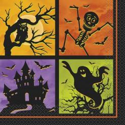 Halloween-Servietten Spuk-Partyservietten 20 Stück schwarz-bunt 33x33cm