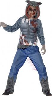 Gefährlicher Werwolf Halloween Kinderkostüm blau-rot-weiss