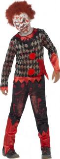 Blutiger Zombie-Clown Halloween Kinderkostüm rot-schwarz