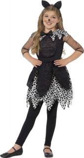 Süsser Leopard Kinderkostüm Katze schwarz-weiss